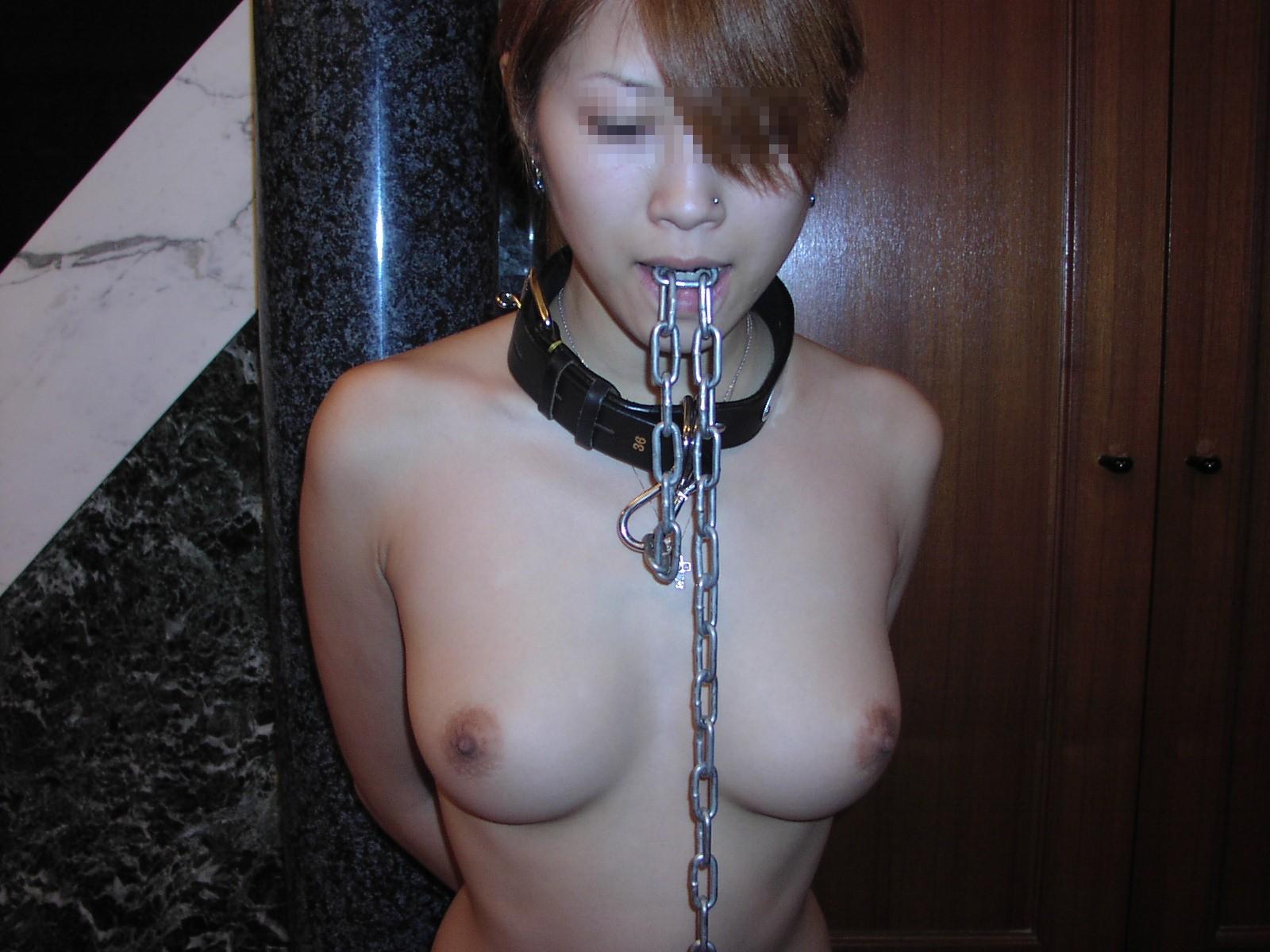 首輪を付けられ飼育されてる雌豚女のエロ画像wwwwwww